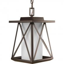 Progress P6534-20 - One Light Antique Bronze Etched Opal Glass Hanging Lantern