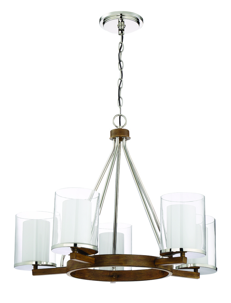 Lark 5 Light Chandelier in Polished Nickel and Whiskey Barrel