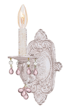 Crystorama 5201-AW-ROSA - Crystorama Paris Market 1 Light Rosa Crystal White Sconce