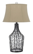 "CAL Lighting BO-2458TB - 8"" Height Glass Table Lamp In Iron Wire"