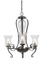 "CAL Lighting FX-3548/3 - 25"" Inch Tall Metal Chandelier In Eternity Finish"