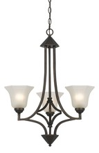 "CAL Lighting FX-3551/3 - 30.5"" Tall Iron And Glass Pendant In Dark Bronze Finish"