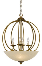 "CAL Lighting FX-3579-7 - 27.5"" Inch Tall Metal Pendant In Antique Gold Finish"