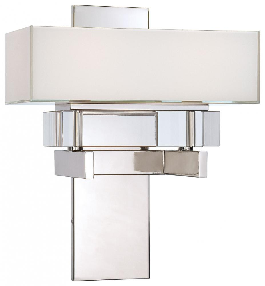 Wilkinson's House of Lighting in St.George, Utah, United States, Minka Metropolitan N6260-613, Two Light Polished Nickel Mitered  White Inside With Eidolon Krystal Accents Glass Wall Light, Eden Roe