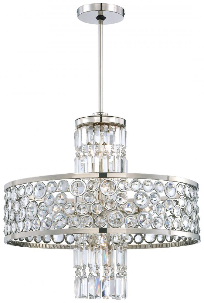 Wilkinson's House of Lighting in St.George, Utah, United States, Minka Metropolitan N6759-613, Thirteen Light Polished Nickel Clear Crystal Accents Glass Up Chandelier, Magique