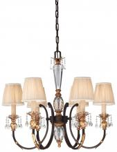 Minka Metropolitan n6646-258b - Six Light French Bronze With Gold Leaf Highlights Pleated Champagne Shade Up Chandelier