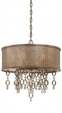 Minka Metropolitan N6728-258 - Scavo Glass French Bronze With Jeweled Accents Drum Shade Pendant