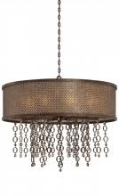 Minka Metropolitan n6729-258 - Ten Light French Bronze Jeweled Accents Glass Drum Shade Pendant